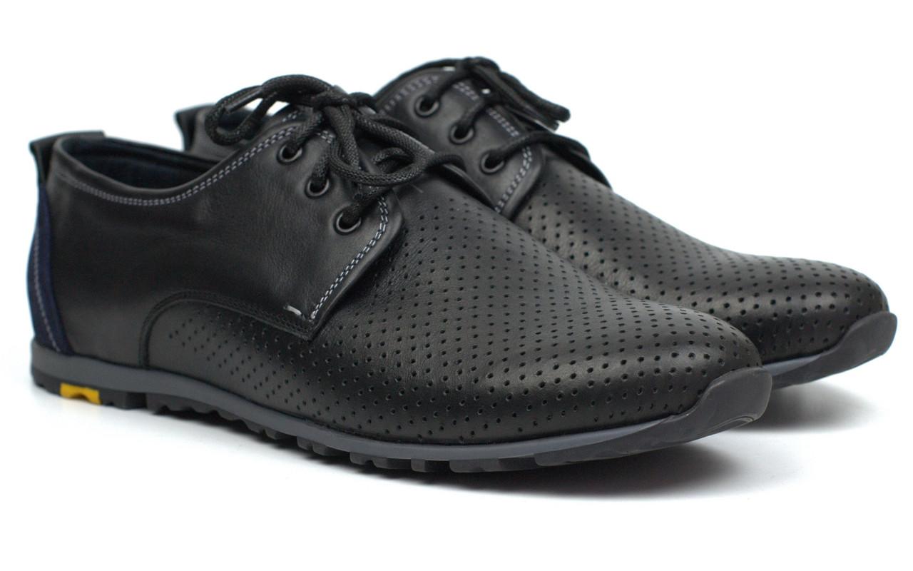Кроссовки мужские летние кожаные с перфорацией черные обувь комфорт Rosso Avangard AN Black