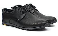 Кроссовки мужские летние кожаные с перфорацией черные обувь комфорт Rosso Avangard AN Black, фото 1