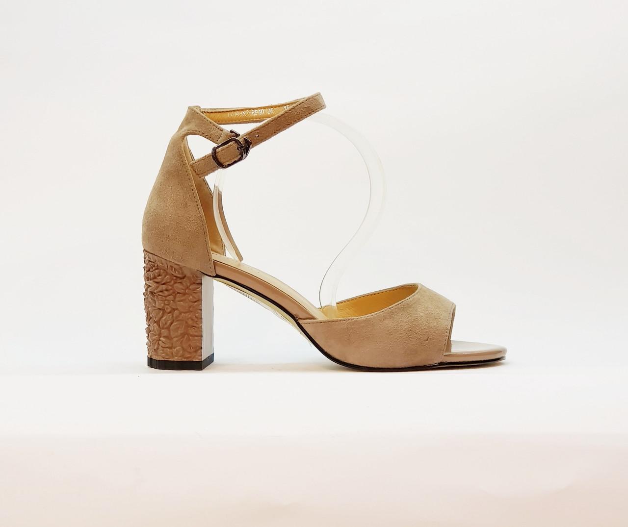 Босоножки женские натуральная замша на высоком каблуке с закрытой пяткой, бежевые
