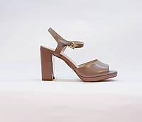 Босоножки женские натуральная кожа на высоком каблуке столбик бежевые, фото 1