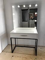 Стол для макияжа с зеркалом и подсветкой в стиле лофт