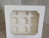 Коробка для кексов 9 шт Белая с окном