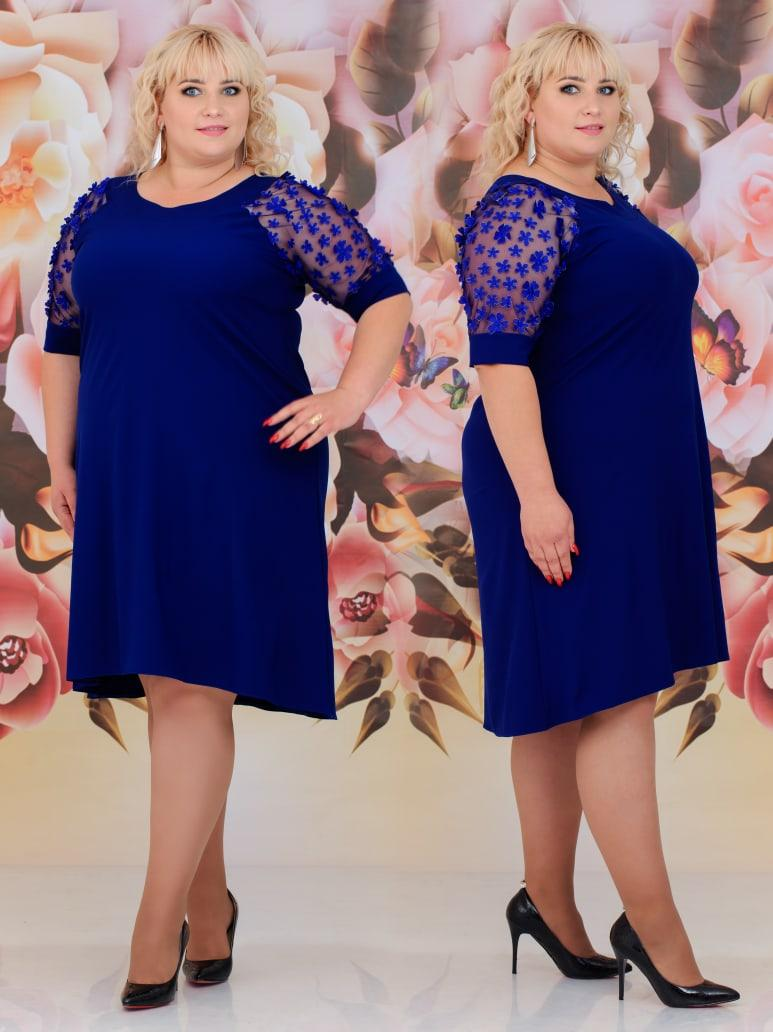 """Ошатне жіноче плаття в батальних розмірах 295-1 """"Рукава Сітка Квіточки"""" в кольорах"""