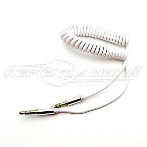 Аудио кабель AUX 3.5 mm jack 1.2м, спиральный белый, фото 2
