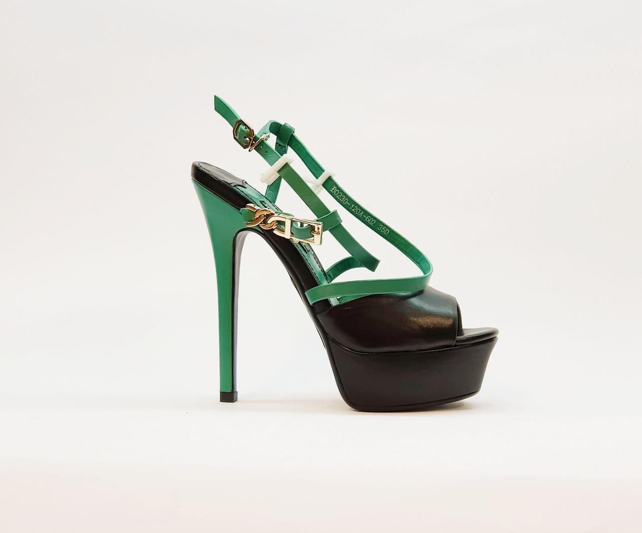 Босоножки женские натуральная кожа на высоком каблуке шпилька и платформе черные+зелёные