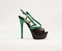 Босоножки женские натуральная кожа на высоком каблуке шпилька и платформе черные+зелёные, фото 1