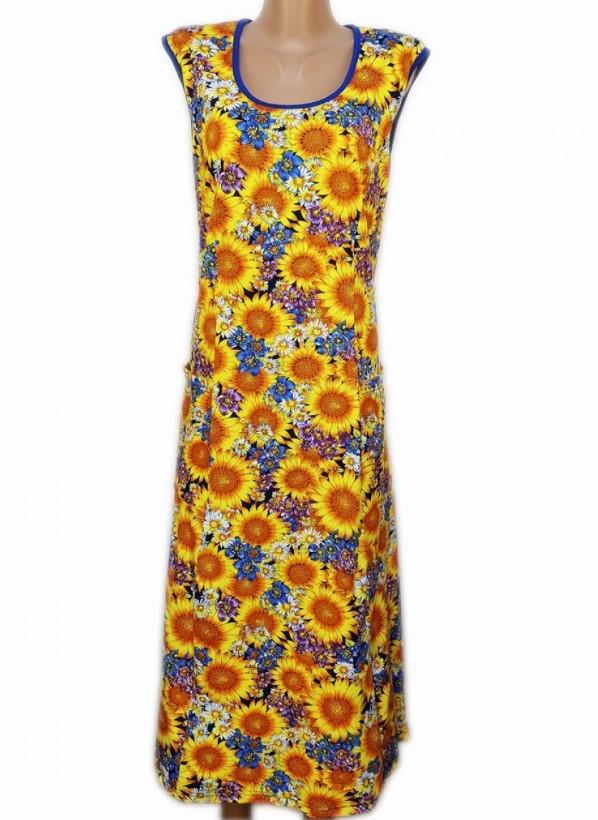 Длинное платье женское домашнее большого размера хлопок