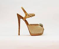 Босоножки женские из текстиля и натуральной кожи на высоком каблуке бежевые, фото 1