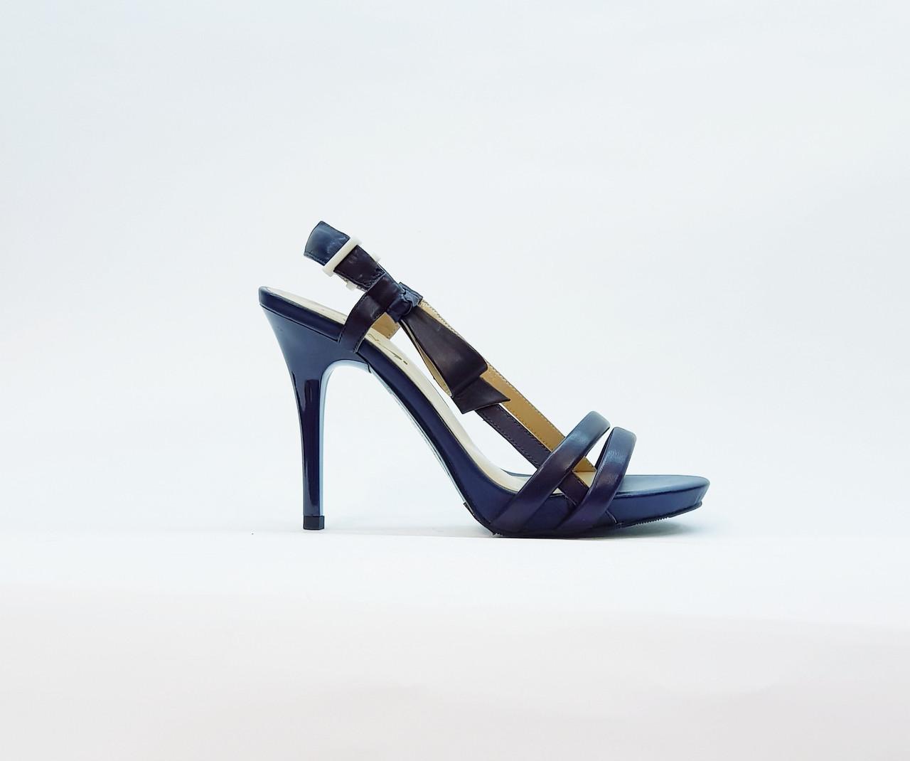 Босоножки женские из натуральной кожи на высоком каблуке шпилька синие