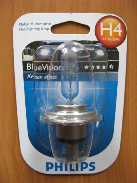 Галогенка H4 PHILIPS 12V 60/55W 12342BVB1 BlueVision(блист 1 шт)