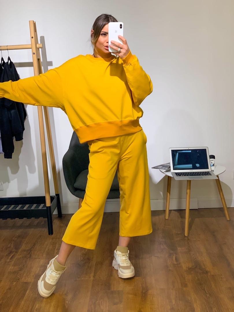 Женский стильный костюм: свитшот и штаны кюлоты ,желтого цвета