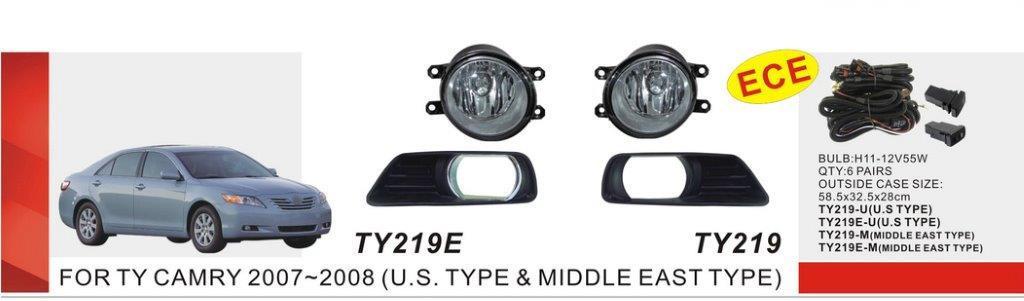 Дополнительные фары противотуманки Toyota Camry 40 2007/TY-219Е-U-W/эл.проводка