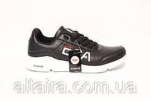 Мужские черные кроссовки на белой подошве из кожзама. BONOTE. Размеры 41-46.