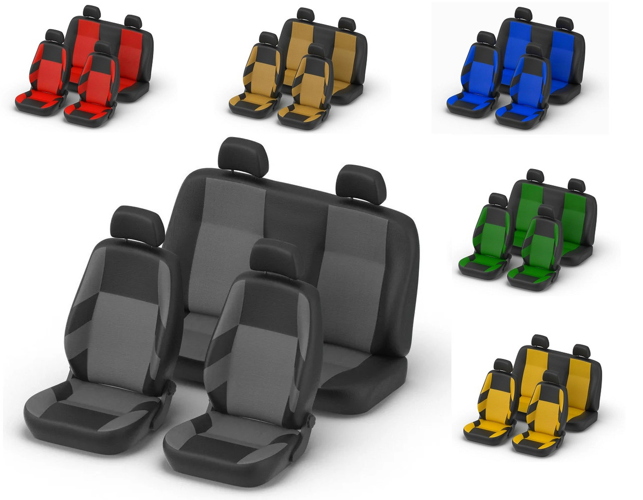 Авточохли Dacia Logan MCV 5 місць з 2006 р поділена сірі