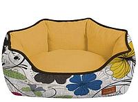 Диван для животного COZY FLO, овальный, оранж/цветы, 60x50x20 см