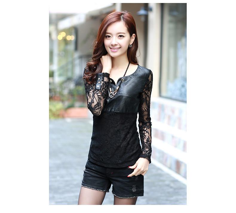 ce0b2f40b06 Кружевная блузка с кожаными вставками  продажа