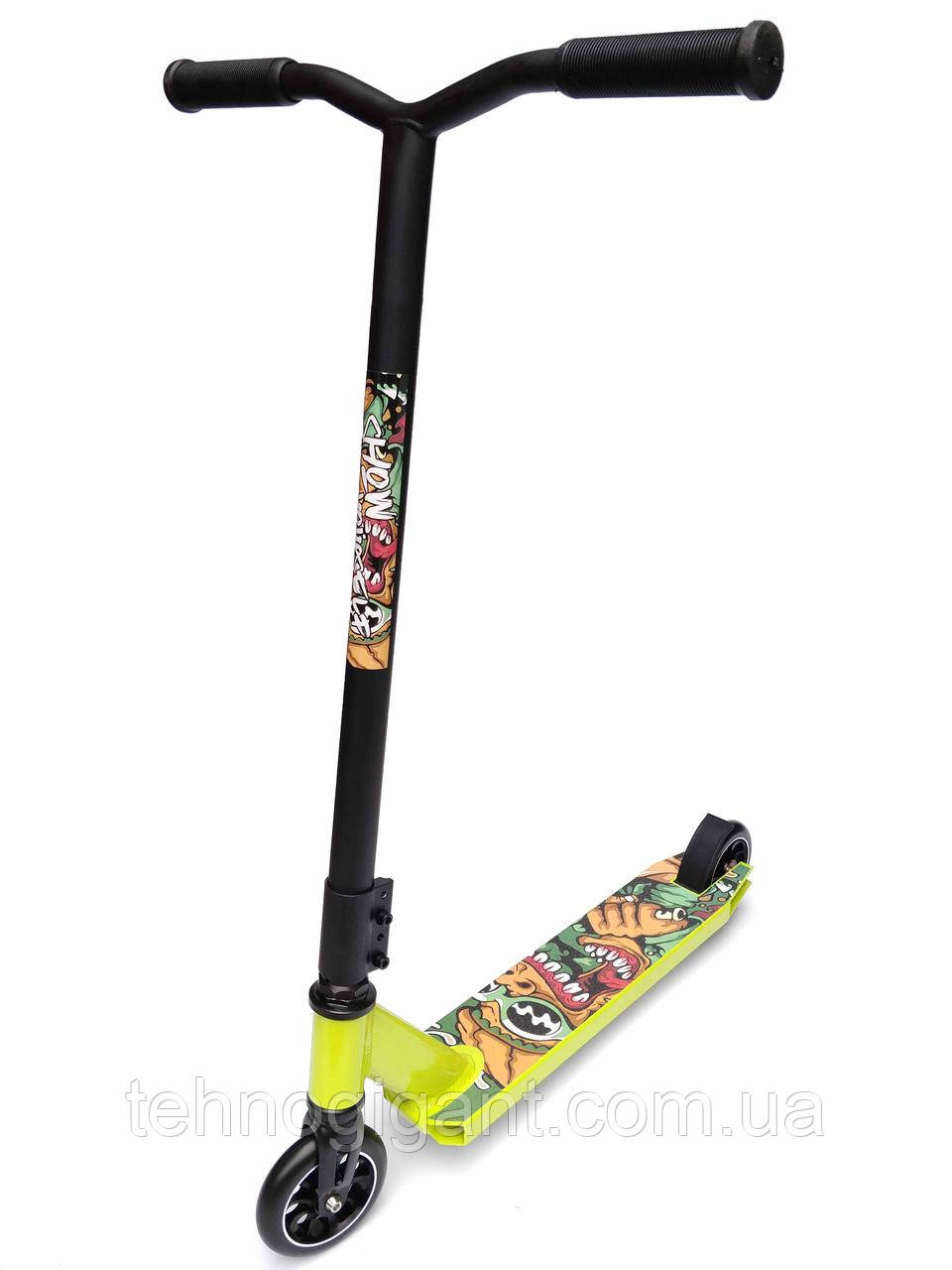 Трюковый детский Самокат отScooter–MICMAX D-60, 110 мм Салатовый , колеса алюминий/полиуретан