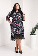 Женское летнее платье с кружевом в цветочный принт