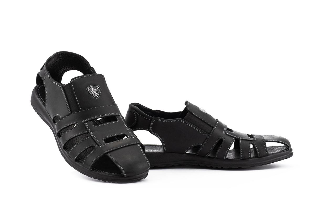 Мужские сандали кожаные летние черные Morethan Active Пр-2-ч