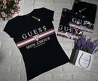 Женская брендовая футболка черная белая Calvin Klein Moscino Guess Dolce & Gabanna со стразами