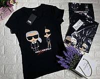 Женская черная брендовая футболка со стразами сваровсеи Karl Lagerfeld