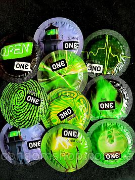 Светящиеся презервативы Премиум класс One Glowing .Качество Durex.1 шт.сроки до 2025 года