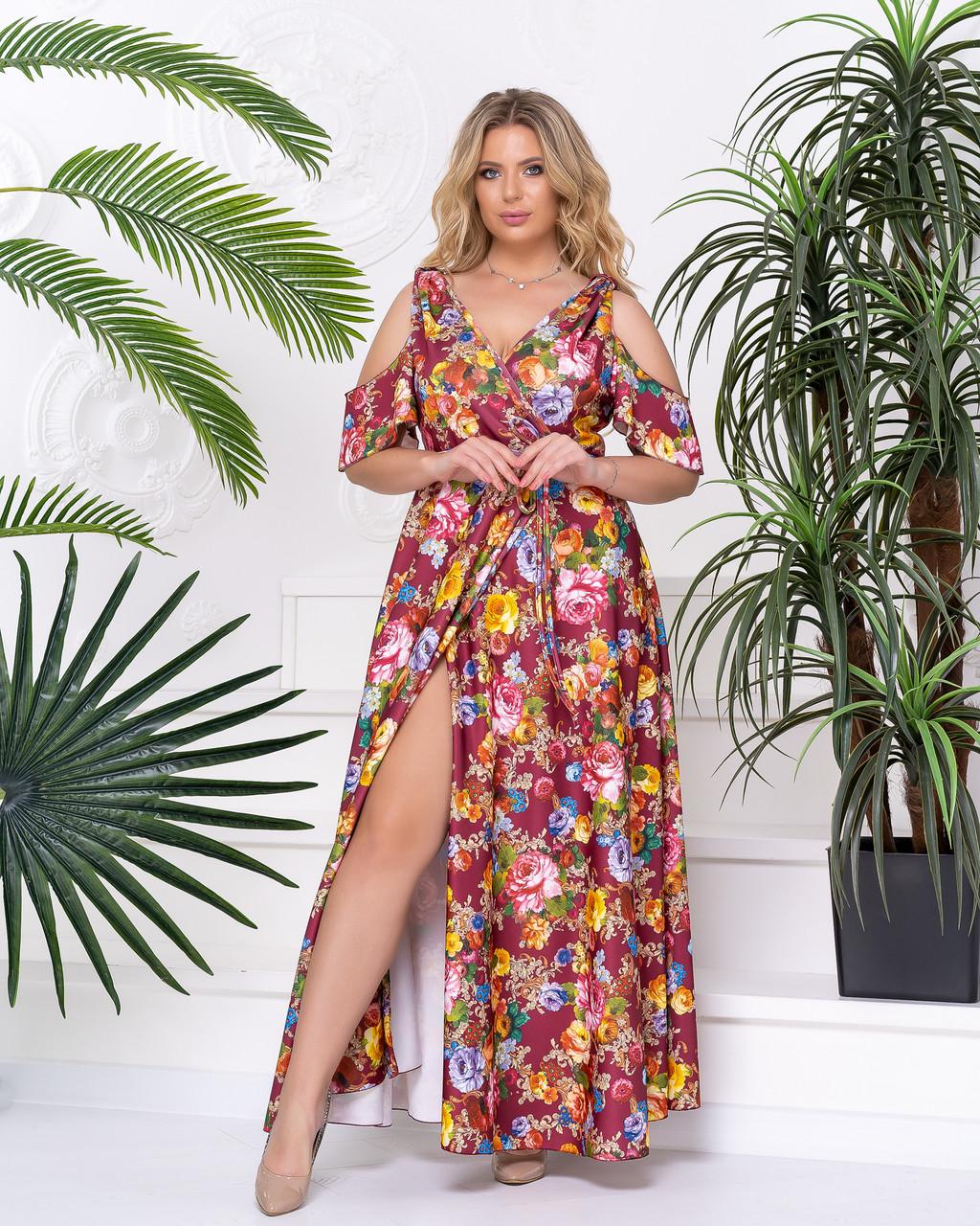 Длинное платье бордо 05267