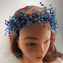 Вінок Корона синя блакитна кришталева Тіара прозора Діадема кришталева гілка ручна робота синій блакитний
