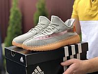 Мужские кроссовки Adidas Yeezy Boost 350 (серо-персиковые) - 9416