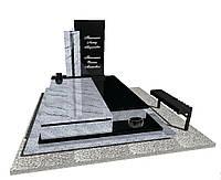 Елітний гранітний пам'ятник подвійний  з білого і чорного граніту N3705
