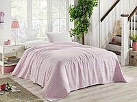 Покрывало плед 100% натуральное (хлопок-бамбук) 220*240см, La Rita Soft розовое, Турция