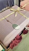 Покрывало плед 100% хлопок ELITA, евро размер 220*240см, светло-сиреневый с балабонами/кисточками, Турция