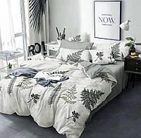 Комплект постельного белья размер ДВУСПАЛЬНЫЙ материал - бязь серый с белым листья