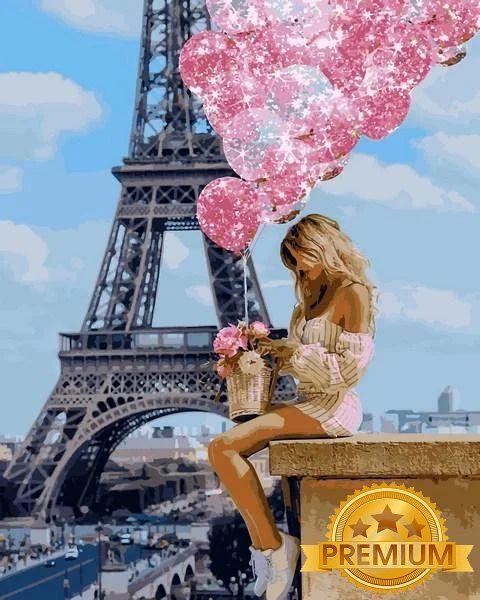 Картины по номерам 40×50 см. Babylon Premium (цветной холст + лак) Над Парижем (NB-1236)