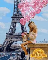Картины по номерам 40×50 см. Babylon Premium (цветной холст + лак) Над Парижем (NB-1236), фото 1