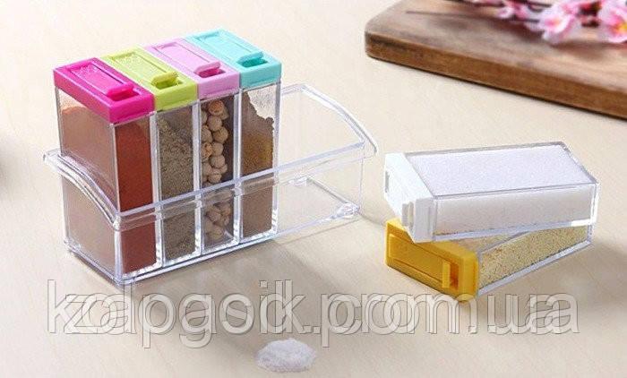 Компактный Набор Цветные Емкости для Специй и Приправ Seasoning Six Piece Set