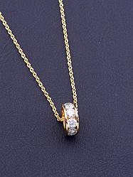Цепочка с кулоном на шею кулон украшен фианитами позолота длина 40 см XUPING