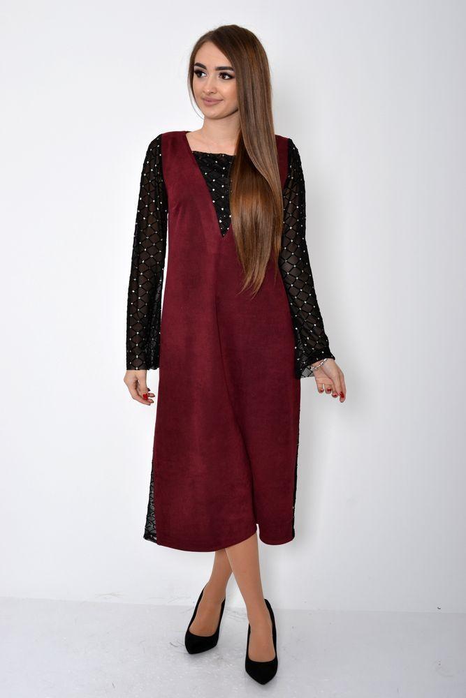 Платье женское 115R354A цвет Бордовый