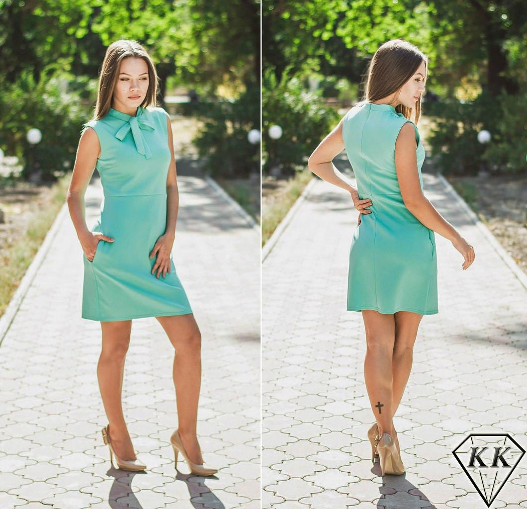 Ментоловое платье без рукавов
