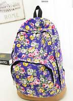 Рюкзак женский, школьный с розочками.