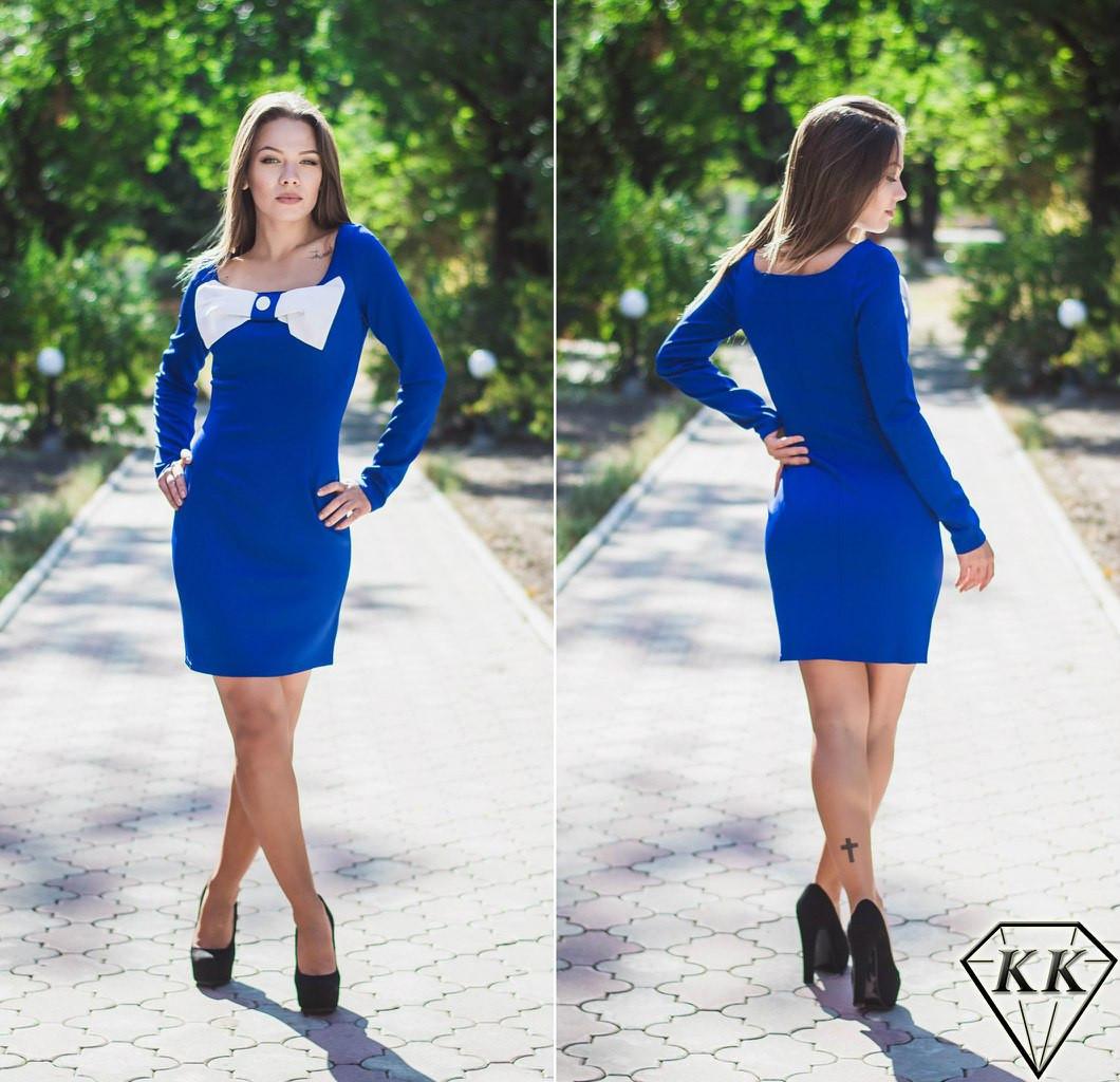 Синее платье бант