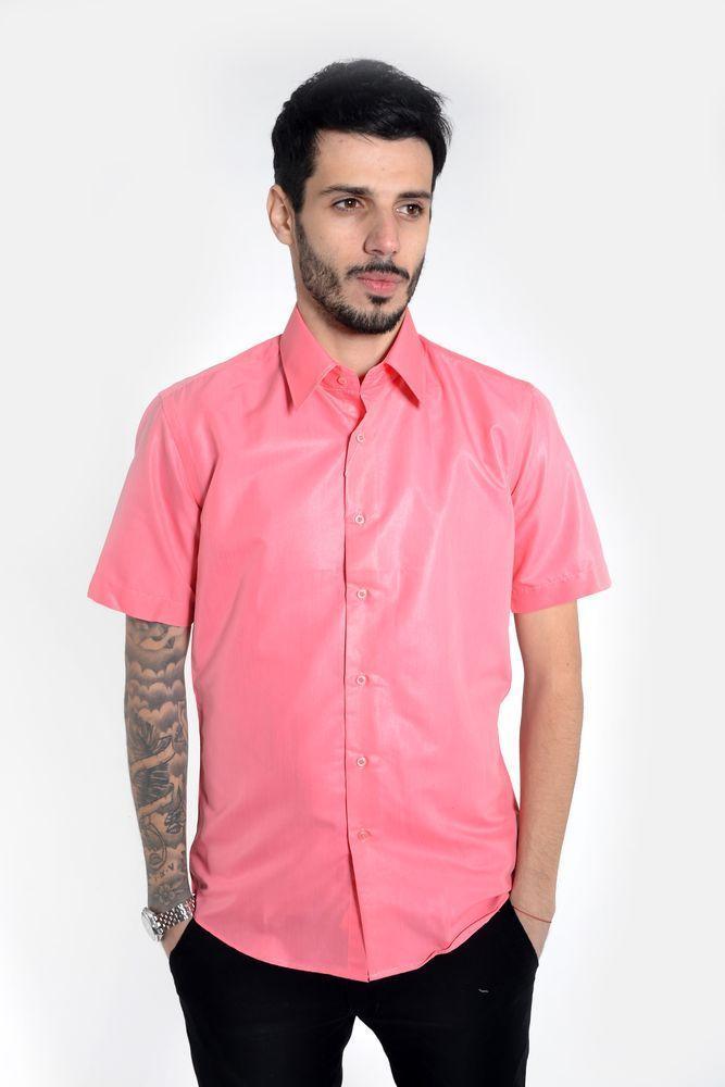 Рубашка мужская 103RMB055 цвет Коралловый