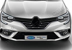 Накладки на решетку радиатора (5 шт, нерж) Renault Megane IV 2016↗ гг.