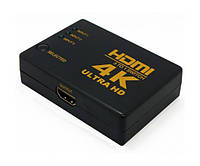 Пассивный свитч HDMI switch 3x1 порта 4K, 1.4 версия с пультом ДУ IR Черный