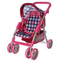 Детская Игровая Кукольная Прогулочная Коляска Melogo поворотные колеса, корзина для игрушек КРУЖОЧКИ арт. 9352