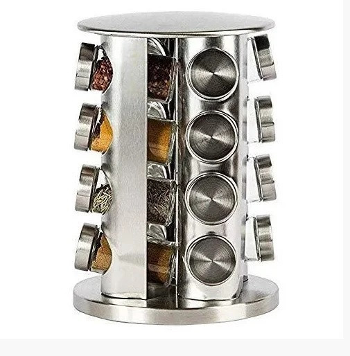 Набор емкостей баночек для специй на вращающейся подставке карусель 16 шт Spice Carousel стальной