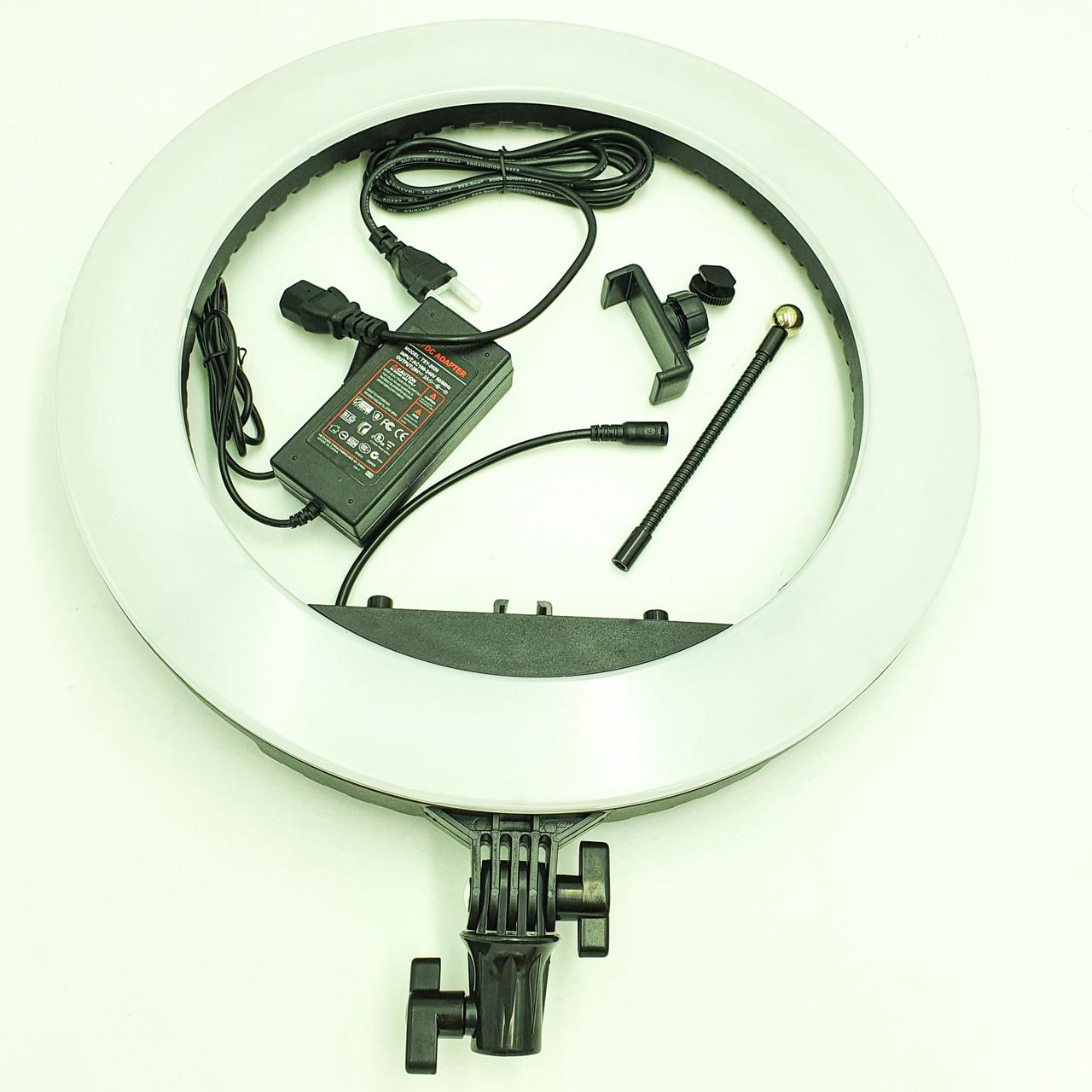 Кольцевая LED лампа 45 см 55W с держателем для телефона селфи кольцо блогера регулировка яркости и температуры
