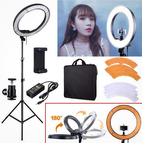 Набор блогера 2 в 1 Кольцевая LED лампа 45 см 55W с держателем для телефона и Штатив 2м селфи кольцо 3 режима