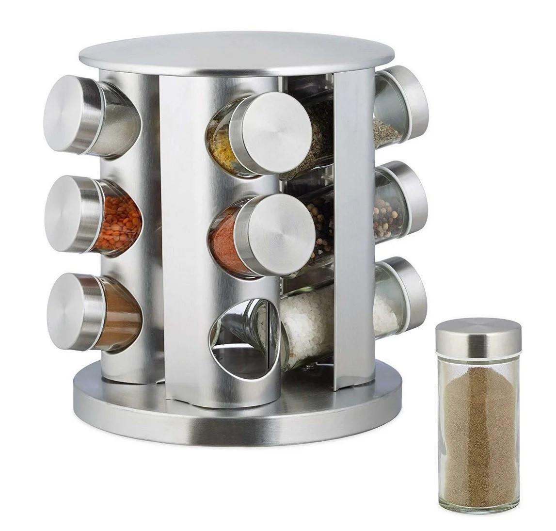 Набір ємностей баночок для спецій на підставці, що обертається карусель 12 шт Spice Carousel сталевий