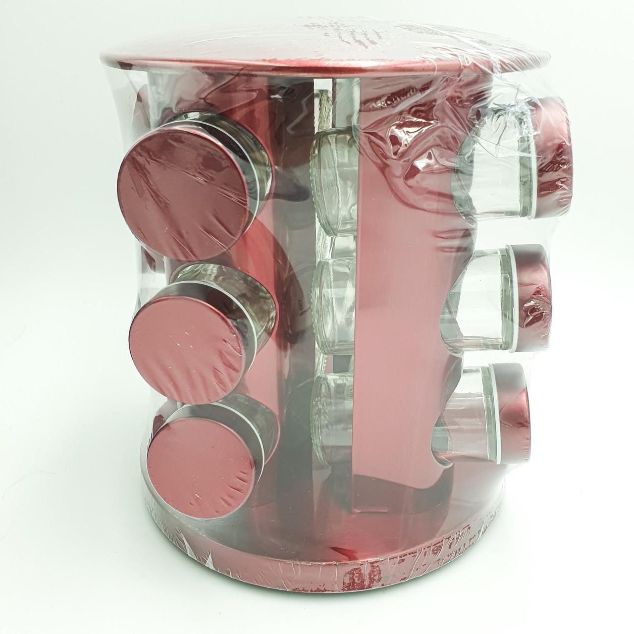 Набор емкостей баночек для специй на вращающейся подставке карусель 12 шт Spice Carousel розовый